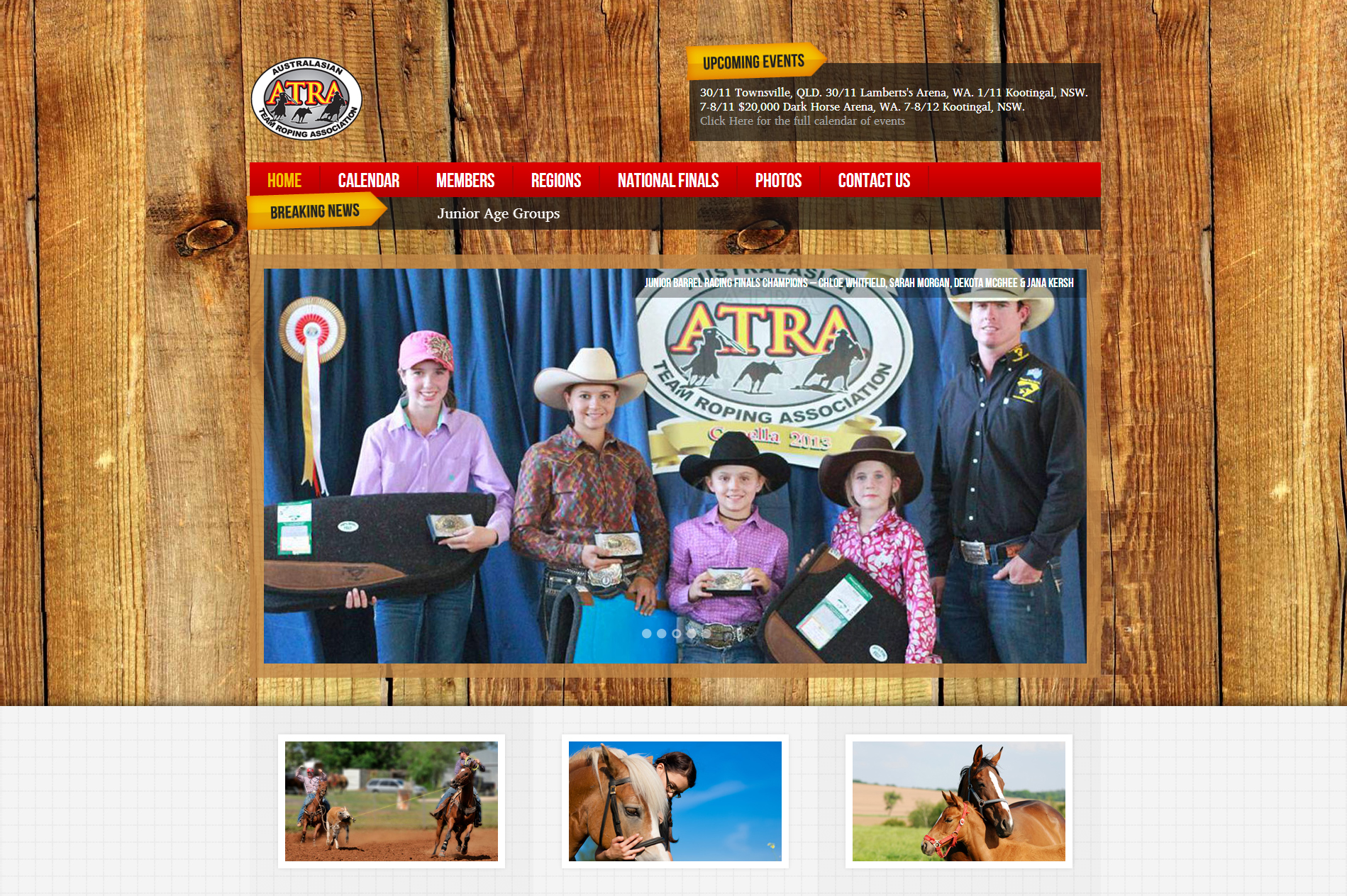 The Australasian Team Roping Assocations beautiful website redesign.