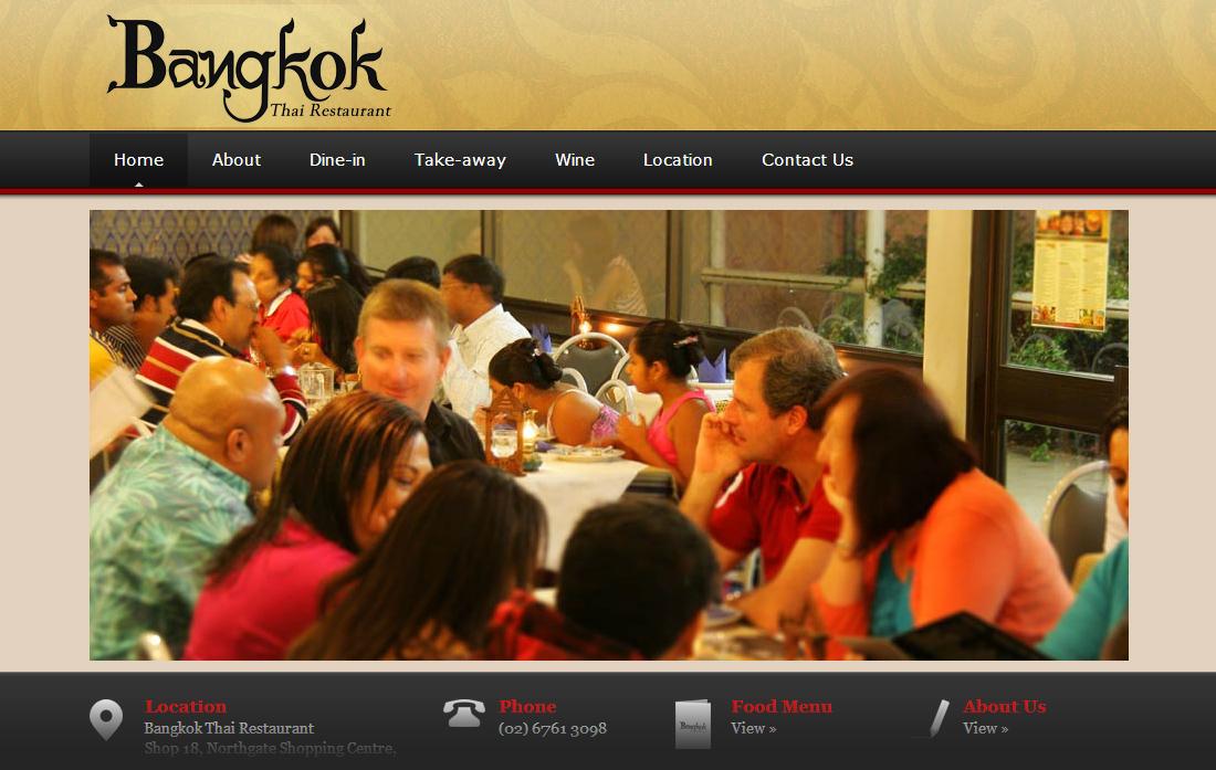 Website design for Bangkok Thai Restaurant in Tamworth NSW
