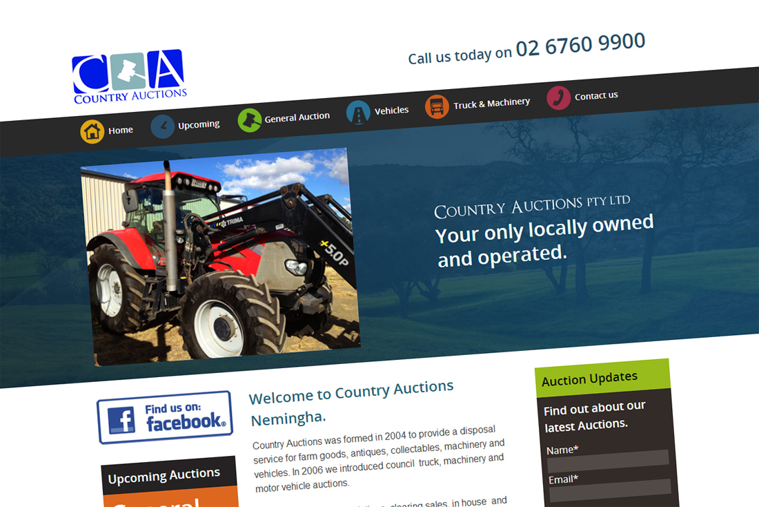 Our Web Design & Development for Country Auctions Nemingha, Tamworth