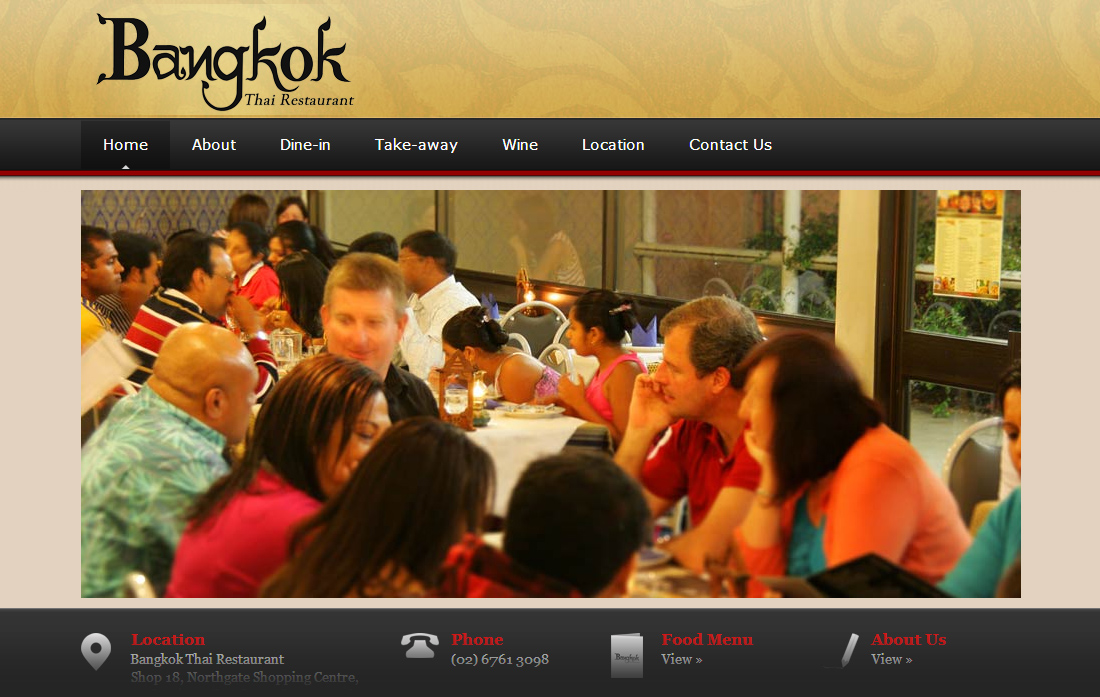 Website design for Bangkok Thai Restaurant in Tamworth NSW